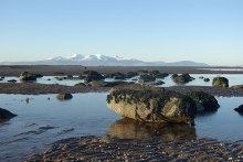 Ardrossan, North Beach The Isle of Arran in distance, Ayrshire © Leslie Barrie